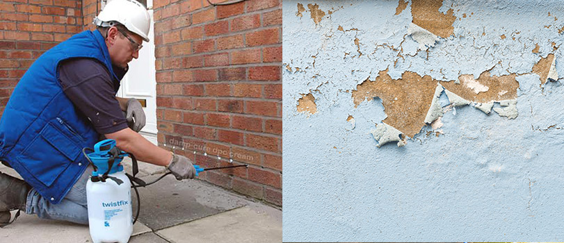 Man remedying rising damp that caused flaking paint
